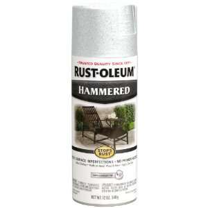 Rust Oleum 248072 12 Ounce Metal Finish Spray Paint, Hammered White