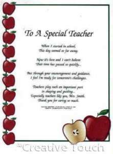 poem personalized apples special teacher