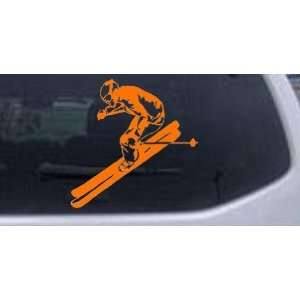 Skier Sports Car Window Wall Laptop Decal Sticker    Orange 12in X 12