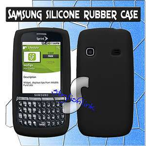 SOLID BLACK SOFT SILICONE RUBBER SKIN CASE COVER Sprint Samsung