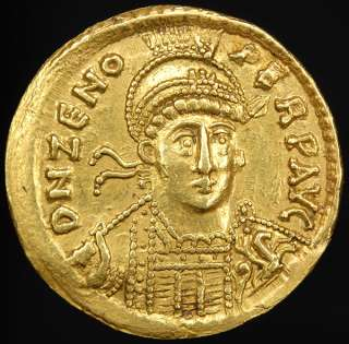 Ancient Late Roman Gold Emperor Zeno Solidus Coin