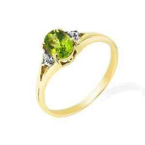 9ct Yellow Gold Peridot & Diamond Ring Jewelry