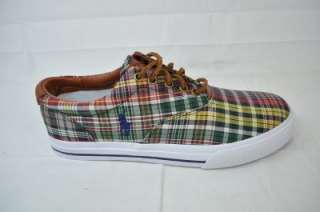 LAUREN VAUGHN   MADRAS/LEATHER FRUIT MUL PLAID MENS 9.5 (#3844)