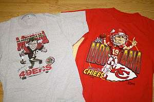 Joe Montana San Francisco 49ers Kansas City Chiefs T Shirt Caricature