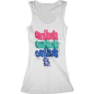 St. Louis Cardinals White Girls Ribbed Tank Top
