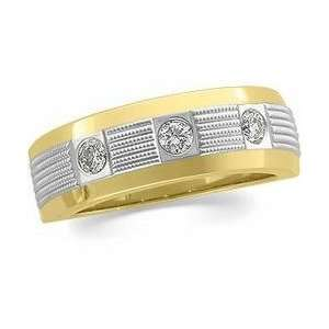 14k Two Tone Gold Diamond Duo Ring