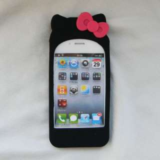 White Hello Kitty Silicone Soft Case Cover For iPhone 4 4G 4S