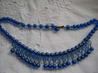 VINTAGE ART DECO BLUE VENETIAN GLASS NECKLACE 1920S