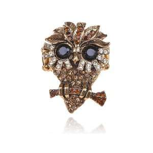 Antique Gold Tone Topaz Shade Crystal Rhinestone Little Old Night Owl
