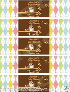 Water Bottle Label Wrappers WHOO LOVES YOU OWL baby shower birthday