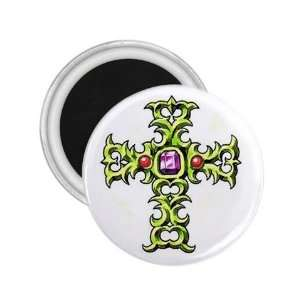Tattoo Cross Green Art Fridge Souvenir Magnet 2.25