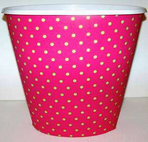 NEW POLKA DOTS HOT PINK LIME GREEN WASTEBASKET TRASH