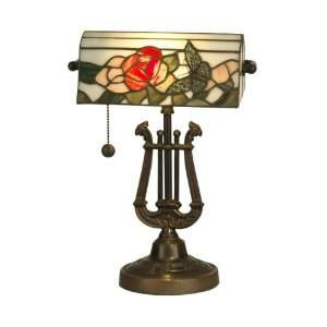 TT90186 Broadview Table Lamp, Antique Bronze and Art Glass Shade
