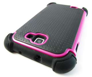 PINK IMPACT TRIPLE COMBO HARD SOFT CASE COVER SAMSUNG GALAXY NOTE