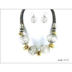 com Chunky Art Deco Silver Tone Necklace and Earrings with Gold Tone