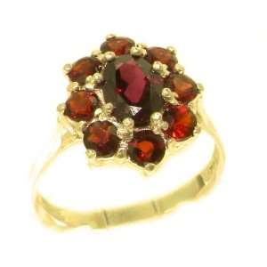 Luxury Ladies Solid Yellow Gold Natural AAA Grade Garnet Cluster Ring