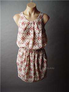 FAIR ISLE Pattern Nordic Folk Print Sleeveless Blouson Dress S