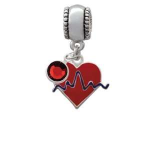 Red Heart with Rhythm Line European Charm Bead Hanger with