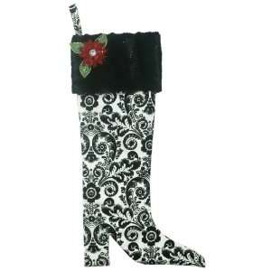 Handmade Christmas Stocking   Damask Poinsettia   Black
