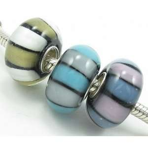) Gold/White, Grey/Blue, and Lavender/Blue Striped Murano Glass Beads