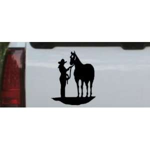 0in    Cowgirl with Horse Western Car Window Wall Laptop Decal Sticker