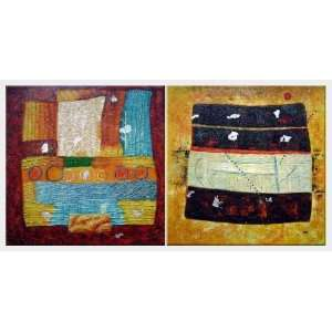 Color Composition Abstract   2 Canvas Set Oil Painting 30