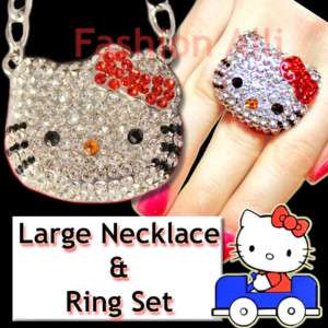 BIG BLING RED CRYSTAL HELLO KITTY NECKLACE & RING SET☆