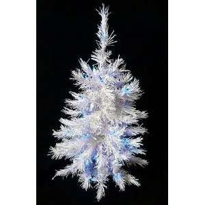 Pre Lit White Artificial Christmas Tree   Blue Lights