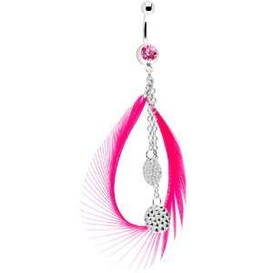 Pink Gem Mod Circle Feather Drop Belly Ring Jewelry