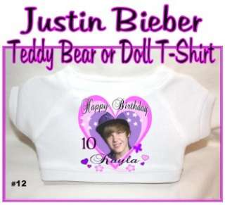 Justin Bieber Happy Birthday Teddy Bear or Doll T Shirt Personalized
