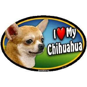 Oval Car Magnet   I Love My Chihuahua (125)