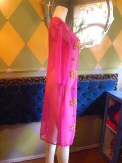 Sheer East Indian Dress, Hot Pink, Stitches Designs, Sparkly, S