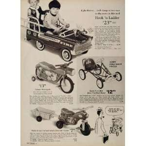 1969 Toy Ad Pedal Car Fire Truck Racer Motorcycle Bike