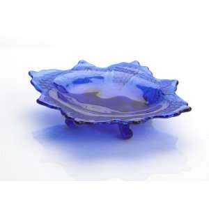 Cobalt Blue Glass Grape & Cable Mint Dish Made in Ohio