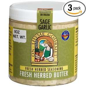 On Thyme Gourmet Fresh Herb Butter Sage Garlic, 8 Ounce Plastic Jars