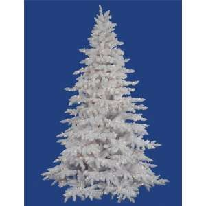 Pre Lit Flocked White Spruce Artificial Christmas Tree   Clear Lights