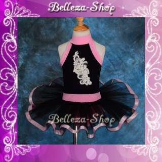 Girl Black Ballet Tutu Dance Leotard Dress Sz 3 4T BA27