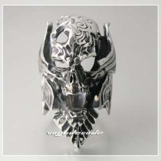 King Vampire Demon Skull 316L Stainless Steel Cool Men`s Biker Ring