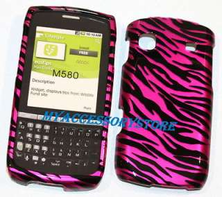 For Samsung Replenish M580 Pink Zebra Protector Faceplate Hard Phone