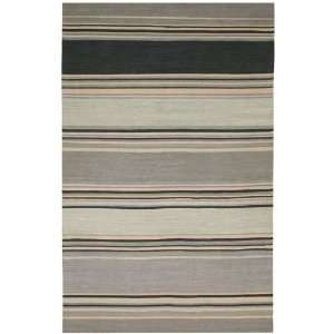 Swing Collection Hand Woven Contemporary Grey Striped Rug