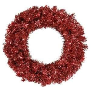 Lit Sparkling Red Hot Tinsel Artificial Christmas Wreath   Red Lights