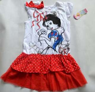 Girl Snow White Princess Top Dress T Shirt SZ3 7Y Party Costume Skirt