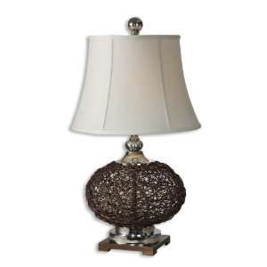 Dark Walnut Natural Knotted Rattan Table Lamp with White Linen Shade