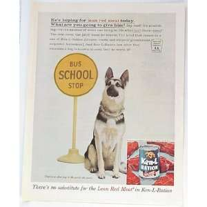 Dog Food German Shepherd Bus Stop Print Ad (3250)