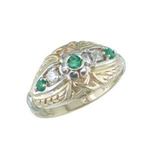 Cailah   size 10.00 14K Yellow Gold Emerald & Diamond Ring Jewelry