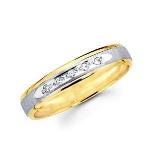 Size  10.5   .05ct Diamond 14k Yellow Two Tone Gold Wedding Ring Band