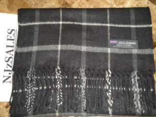 100% CASHMERE Scarf Black White Warm Wool Check Plaid Scarf Made in