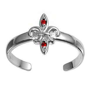 Silver Fashion Toe Ring   Fleur De Lise with Ruby CZ   2mm Band Width