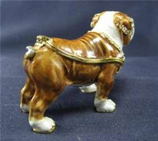 Tan English Bulldog Trinket Box Swarovski Bejeweled