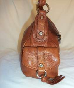 FRANCESCO BIASIA leather cargo handbag SOFT cognac bag $300 brown